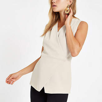 River Island Womens Beige wrap front sleeveless tux top
