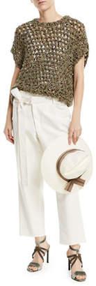 Brunello Cucinelli Straw Fedora Sun-Hat with Grosgrain Ribbon