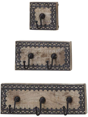 Uma Enterprises Set Of 3 New Traditional Wood & Metal Wall Hooks
