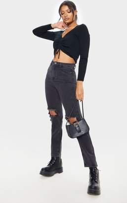 PrettyLittleThing Washed Black Knee Rip Straight Leg Jean