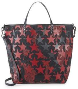 Valentino Star-Print Leather Tote