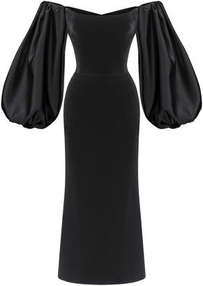 Rasario Puff Sleeve Satin And Silk-Blend Velvet Corset Midi Dress