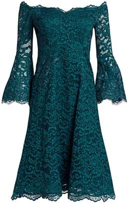 Teri Jon By Rickie Freeman Bell Sleeve Off-The-Shoulder Lace Dress