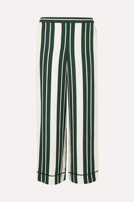Oscar de la Renta Striped Crepe Straight-leg Pants - Green