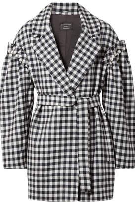 Mother of Pearl Emmett Belted Faux Pearl-embellished Gingham Wool Jacket - Black
