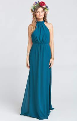 Show Me Your Mumu Collette Collar Dress ~ Deep Jade Chiffon