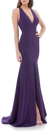 Carmen Marc Valvo V-Neck Halter Style Gown