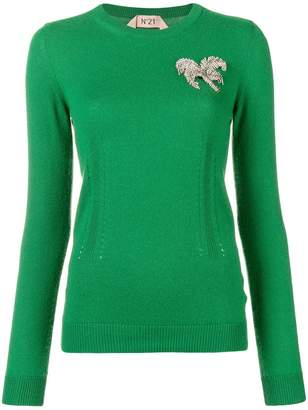 No.21 brooch embellished sweater