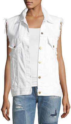 Neiman Marcus Acynetic Patti Raw-Edge Button-Front Denim Vest