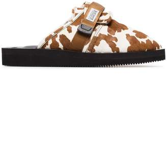 Suicoke Brown and White Cow Print Sheep Skin and Calf Hair Slippers