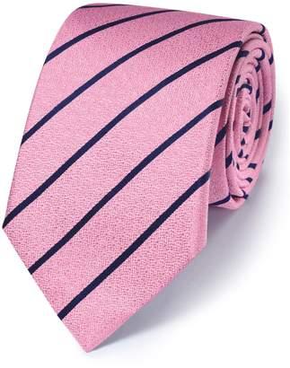 Charles Tyrwhitt Pink and Navy Silk Classic Textured Stripe Tie
