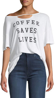 Wildfox Couture Coffee Saves Lives Slashed Oversized Tee