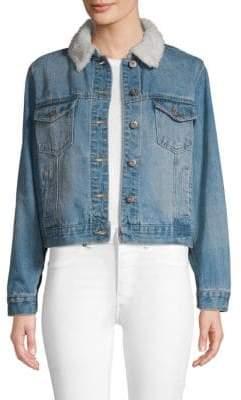 Faux Fur-Trimmed Denim Jacket