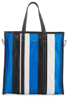 Balenciaga Bazar Medium Striped Leather Shopper Tote Bag, Green/White/Black