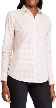 Chaps Petite Straight-Fit Printed Cotton Button-Down Shirt