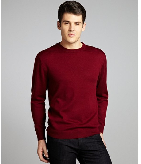 Harrison burgundy wool crewneck sweater