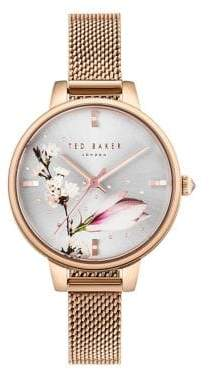 Ted Baker Kate Floral Stainless Steel Three-Hand Watch