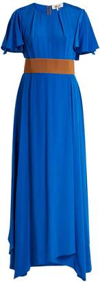 Diane von Furstenberg Ruffle-sleeved silk-crepe gown