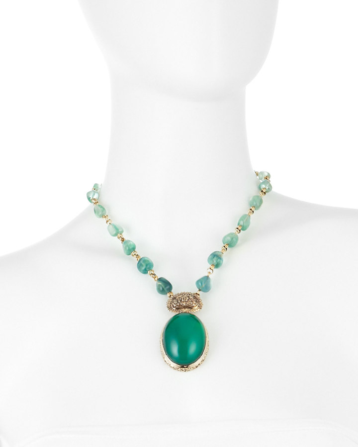 Stephen Dweck Green Agate Oval Pendant Necklace