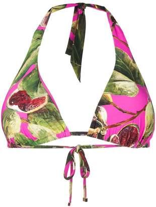 Dolce & Gabbana printed triangle bikini top