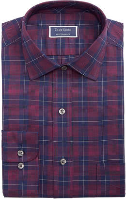 Club Room Men Classic/Regular Fit Stretch Twill Houndstooth Plaid Dress Shirt