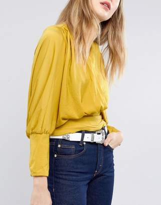 Asos Leather Western Tip Waist and Hip Belt in White