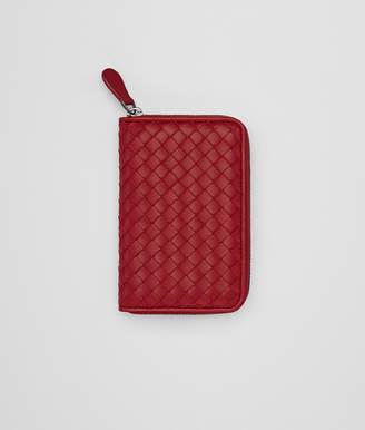 Bottega Veneta ZIP-AROUND WALLET IN CHINA RED INTRECCIATO NAPPA LEATHER