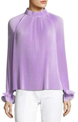 Tibi Mock-Neck Long-Sleeve Pleated Top