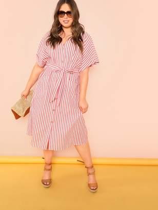 669b475a4ab Shein Plus Pocket Front Button Up Striped Dress