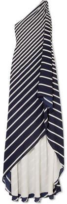 Halston Asymmetric Striped Crepe Gown - Navy