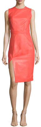 Thierry Mugler Sleeveless Jewel-Neck Sheath Dress, Coral $3,630 thestylecure.com