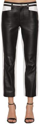 Karl Lagerfeld Cropped Bicolor Leather Pants
