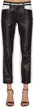 Karl Lagerfeld Paris Cropped Bicolor Leather Pants