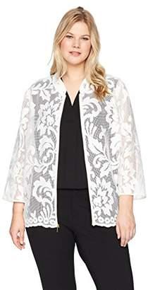Kasper Women's Size Plus Floral LACE Jacket with Zipper