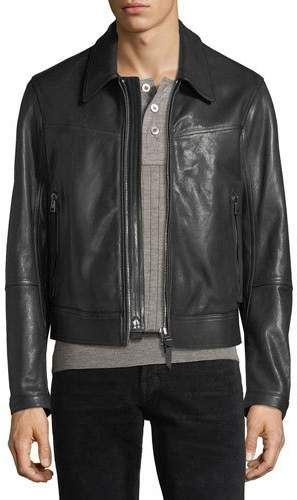 TOM FORD Worked Leather Zip-Front Jacket