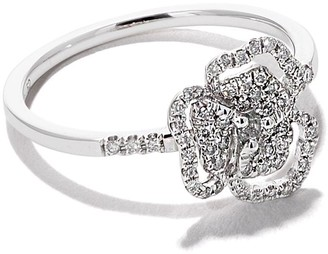 As 29 AS29 18kt white gold Roselia Flower Line small diamond ring