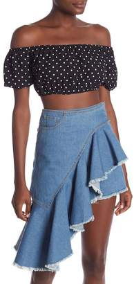Dance and Marvel Off-the-Shoulder Polka Dot Crop Top