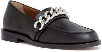Givenchy Black leather chain loafers