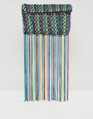 Asos DESIGN Multi Colored Tassel Clutch Bag