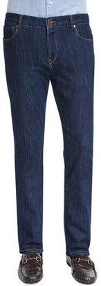Peter Millar Five-Pocket Straight-Leg Denim Jeans, Indigo $228 thestylecure.com