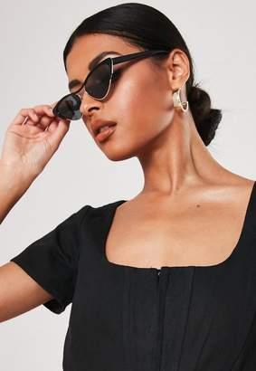 Missguided Black Half Frame Cat Eye Sunglasses