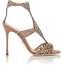 Sergio Rossi Women's Embellished Tresor T-Strap Sandals-Nude