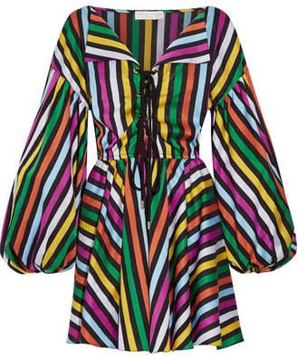 Caroline Constas - Olympia Cotton-jacquard Mini Dress - Magenta $595 thestylecure.com