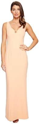 Laundry by Shelli Segal V-Neck Cut Out Stretch Crepe Gown Women's Dress