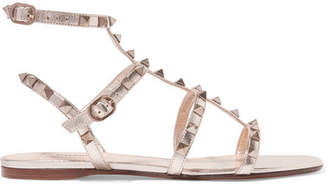 Valentino Garavani The Rockstud Metallic Leather Sandals