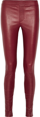 Helmut Lang - Stretch-leather Leggings - Burgundy $920 thestylecure.com