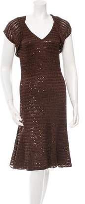 Carmen Marc Valvo Bolero-Overlay Sequined Dress