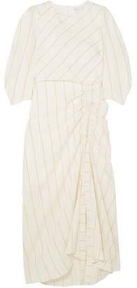 Maje Striped Woven Midi Dress