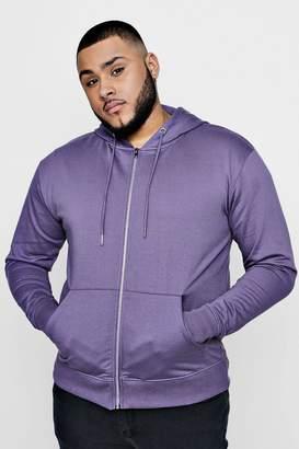 boohoo Big And Tall Basic Zip Through Hoodie