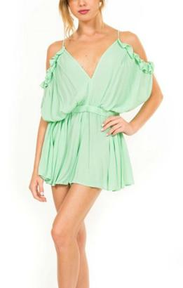Pretty Little Things Ruffle Shoulder Romper $68 thestylecure.com